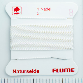 Perlseide Natur weiß Nr-5-0,65mm - 2m / 1 Nadel