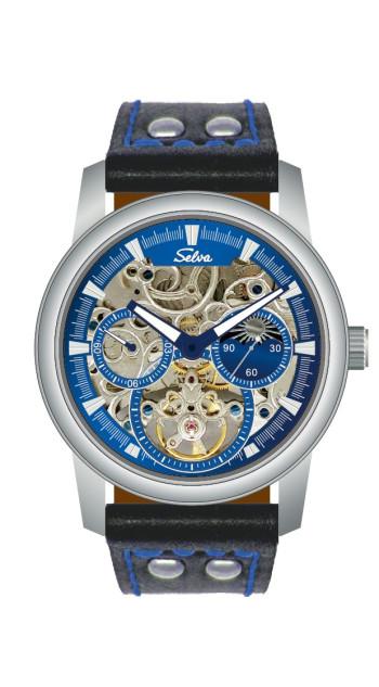 SELVA Men's Watch »Ramon« -sun/moon - skeletonized - Blue-Motion