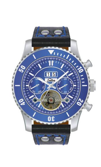 SELVA Men's Watch »Vito« - Big Date - blue