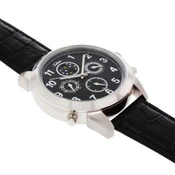SELVA Montre-bracelet d'homme »Santos« - Soleil/lune - cadran noir