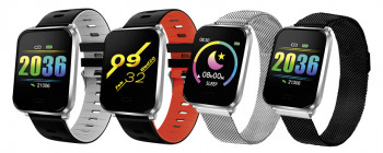 Fitness tracker with black metal strap