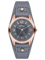 s.Oliver bracelet-montre en cuir véritable gris SO-2947-LQ