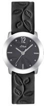 s.Oliver bracelet-montre en cuir noir SO-1838-LQ