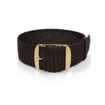 Watch strap nylon black, 18mm, yellow closure