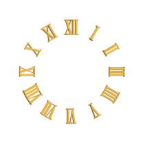 Zahlensatz römische Zahlen Kunststoff vergoldet L=18mm