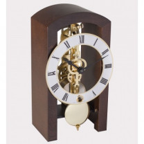 HERMLE skeleton table clock, walnut