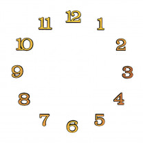 Number set Arabic numerals plastic gold colored L=18mm