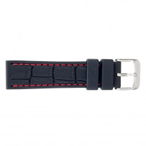 Bracelet-montre silicone/ caoutchouc 18mm, couture rouge