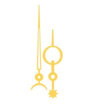 Zeigerpaar Funkuhren Breguet gelb Minutenzeiger-L:80mm