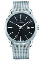 DELBANA HAU Inox / cadran noir avec bracelet milanais - Swiss made
