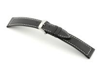 Bracelet-montre en cuir Del Mar 20 mm noir