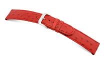Lederband Dundee 12mm rot mit Straußennarbung