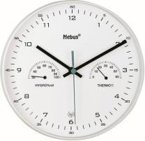 Funk-Wanduhr mit Thermometer/ Hygrometer, weiß