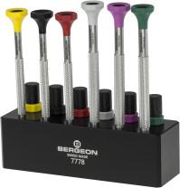 Inox screwdriver set, 6 pieces on plastic base Bergeon