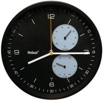Funk-Wanduhr mit Thermometer/ Hygrometer, schwarz