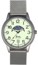 Uhren Manufaktur Ruhla - moon phase watch - luminous dial - milaneise strap