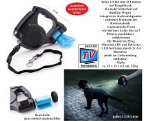 Hundeleine mit LED-Licht und Kotbeutelspender