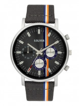 s.Oliver SO-3990-LM leather / textile gray 22mm