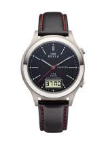 Uhren Manufaktur Ruhla - Funk-Armbanduhr - schwarz - Lederband - made in Germany