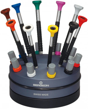 Screwdriver assortment on a large revolving base Bergeon