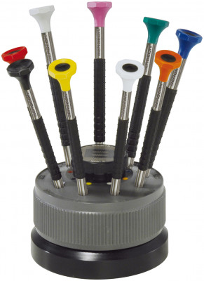 Screwdriver assortment, 9 pieces with Delrin handle on revolving base and stainless steel blades Bergeon