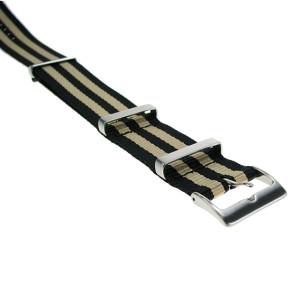 Nylonband schwarz-beige gestreift, 20mm