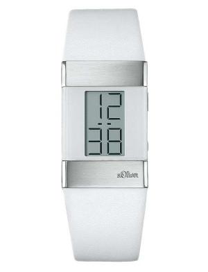 s.Oliver bracelet-montre en cuir blanc SO-1286-LD
