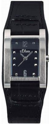 s.Oliver bracelet-montre en cuir noir SO-1117-LQ