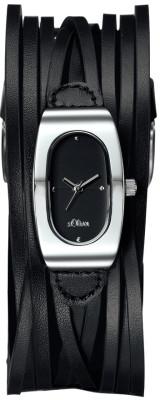 s.Oliver bracelet-montre en cuir noir SO-1295-LQ