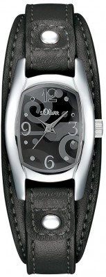 s.Oliver bracelet-montre en cuir noir SO-1306-LQ