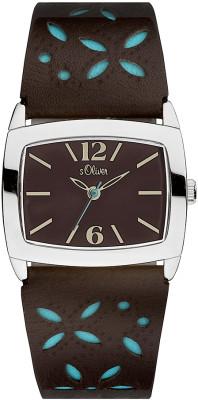s.Oliver bracelet-montre en cuir brun SO-1533-LQ