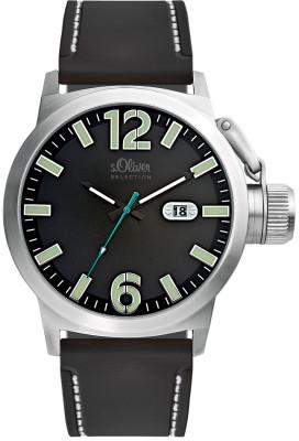 s.Oliver bracelet-montre plastique PU noir SO-1932-PQ