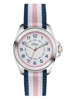 s.Oliver Textilband blau, weiß, rosa SO-3133-LQ