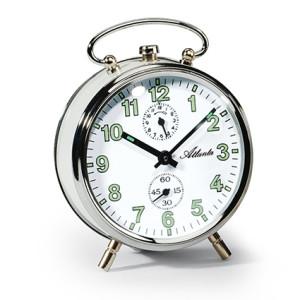 Atlanta 1065/0 white Mechanical alarm clock with luminous numbers