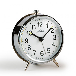 Atlanta 1051/19 silver Mechanical alarm clock with luminous hands
