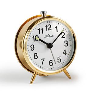 Atlanta 1051/9 gold Mechanical alarm clock with luminous hands