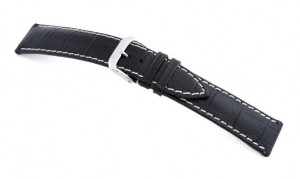Leather strap Tupelo 18mm black with alligator imprinting