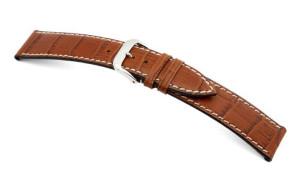 Leather strap Saboga 12mm cognac with alligator embossment