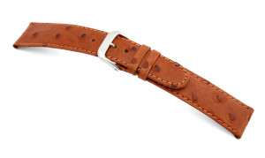 Leather strap Dundee 12mm cognac with ostrich grain