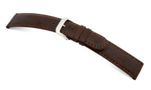 Lederband Dundee 12mm mokka mit Straußennarbung