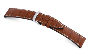Leather strap Tupelo 16mm cognac with alligator imprinting