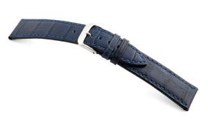 Lederband Tampa 12mm marineblau mit Alligatorprägung