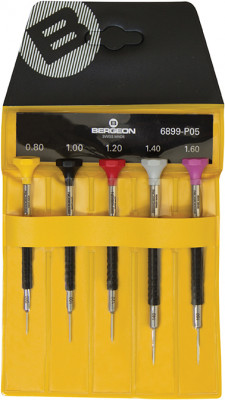 Screwdriver set, Delrin, 5 pcs., in plastic bag, Bergeon