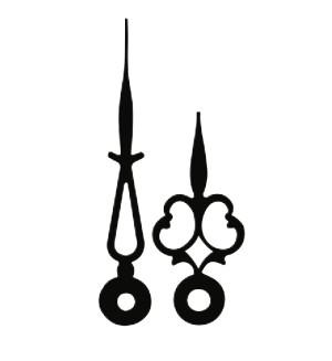 Zeigerpaar für Mechanische Antik schwarz matt Minutenzeiger-L:41mm Std.-Z.-Ø:4,5 Min.-Z.-Ø:2x2