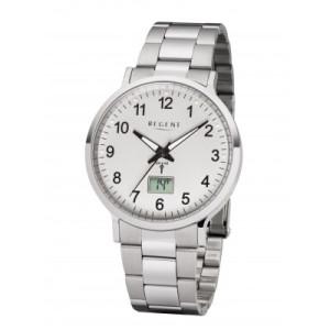Montre-bracelet radiopilotée REGENT, acier blanc, hommes Ø 40 mm
