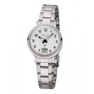 REGENT radio wristwatch, white steel, ladies