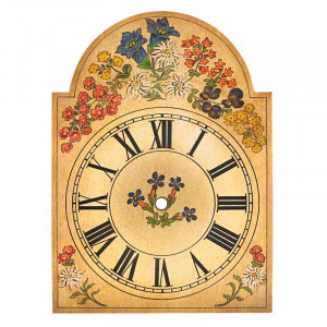Clock Shield With 'Gentian' motif 250x345mm