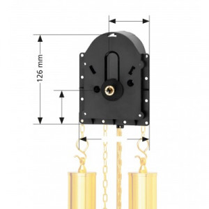Quartz pendulum clock movement Hermle 2200, HSL 20mm with front panel for weight dummies