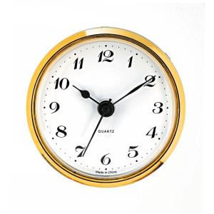 Einsteckwerk UTS Trommel Ø 57mm, Lünette Ø 65mm gelb, Zifferblatt weiß-antik, arabische Zahlen