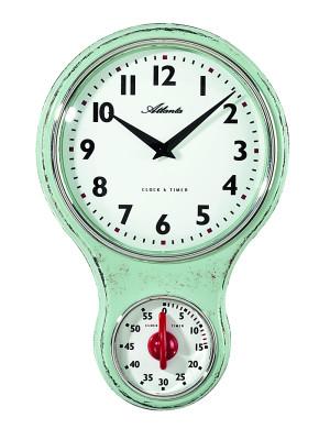 Atlanta 6124/6 Küchen-Wanduhr Nostalgie Quarz grün mit Timer